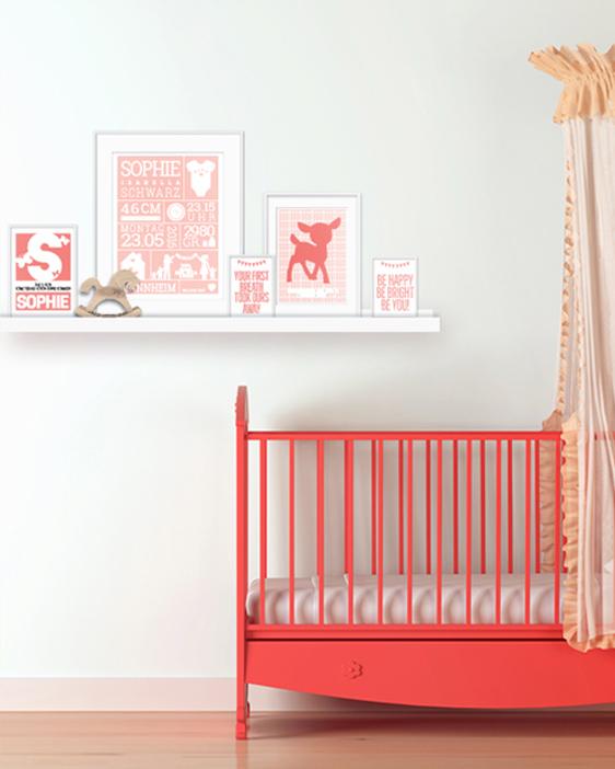 Wanddekoration Babyzimmer | Mädchen | Personalisierter Poster | Farbe Rosa | Printcandy