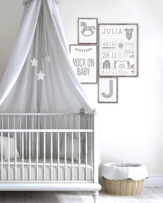 Wanddekoration Babyzimmer | Gender-Neutral | Natürlich Weiss Grau | Printcandy