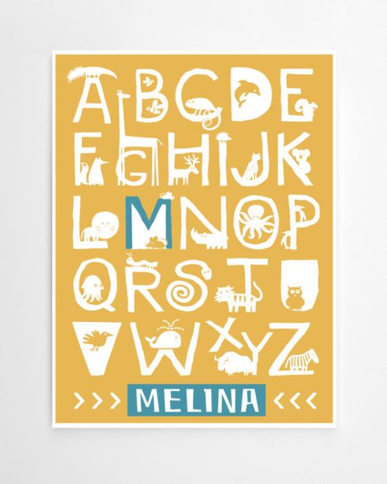 Alphabet Poster Tiere - Kinderzimmer-Poster-online-selber-machen-bei-Printcandy-