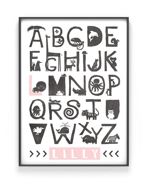 Personalisierter Alphabet Poster Tiere | Personalisiert | Schwarz Weiss mit Rosa | Printcandy