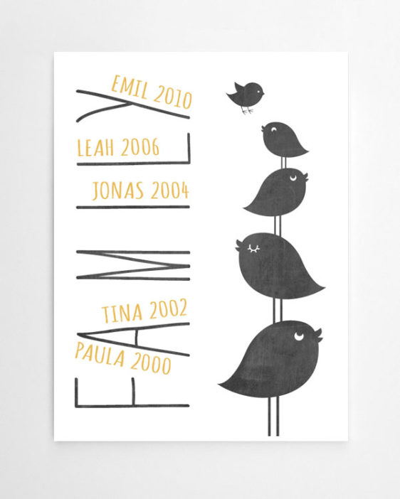 family bird poster entwerfe dein eigenes poster in 3 schritten. Black Bedroom Furniture Sets. Home Design Ideas