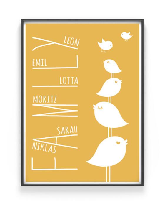Family Bird Poster | Personalisiert | Gelb | Printcandy