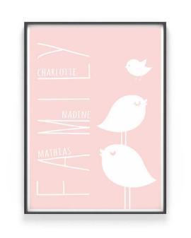 Family Bird Poster | Personalisiert | Rosa