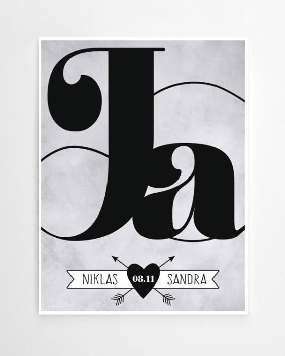 Ja ich will Poster - Personalisiertes Love Print, online selber selber gestalten bei Printcandy
