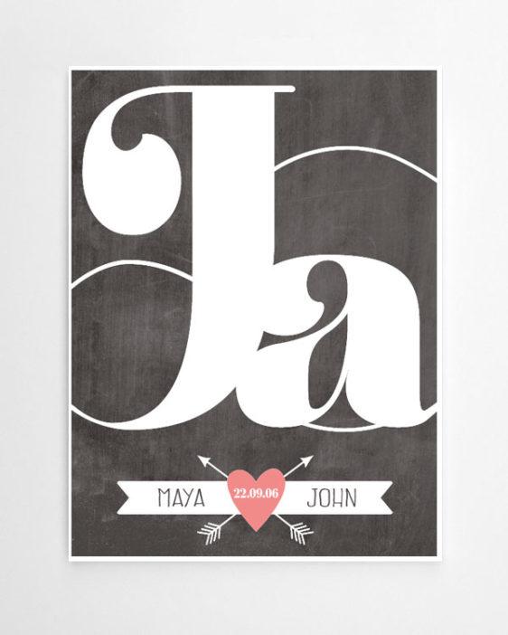 Ja ich will Poster - Love Print mit Daten des Paares- Poster online selber machen bei Printcandy