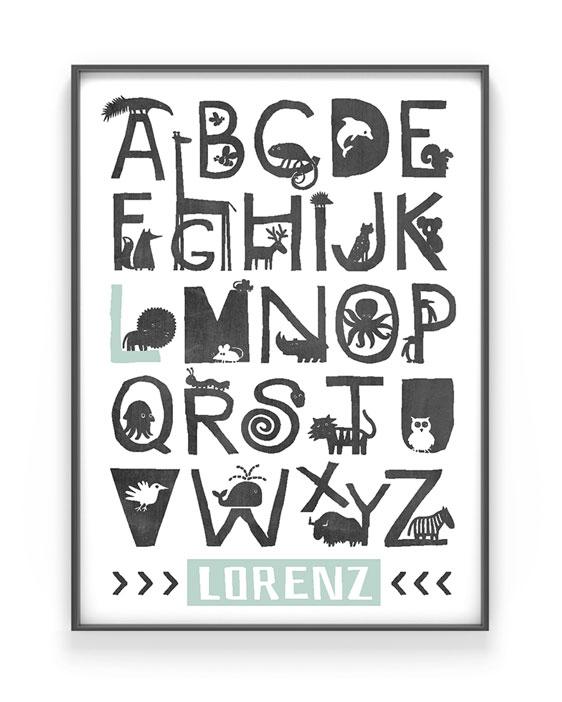 Personalisierter Alphabet Poster Tiere | Personalisiert | Schwarz Weiss mit Minz | Printcandy