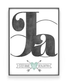 Ja, ich will Poster | Hochzeit Poster | Schwarz Weiss mit Minz | Printcandy