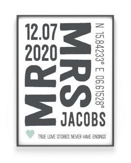 Mr and Mrs Poster | Personalisiert | Schwarz Weiss mit Minz | Printcandy