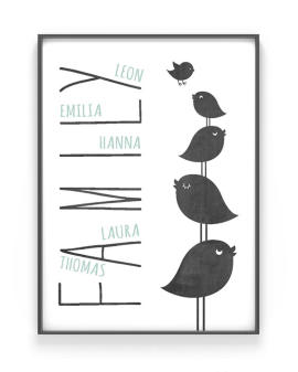 Personalisiertes Familien Poster Birds | Schwarz Weiss mit Minz | Printcandy