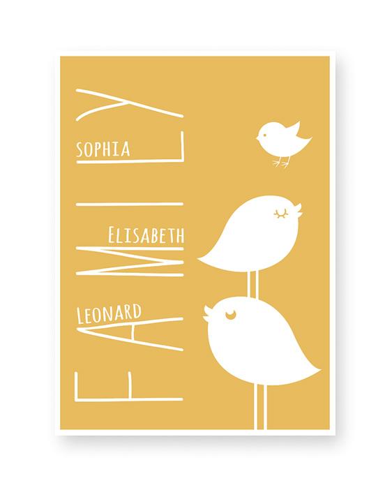 Personalisiertes Poster mit dem Bild von einer Vogelfamilie | Printcandy