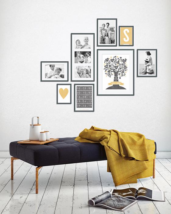 Wandcollage kombiniert mit Fotos und personalisierte Poster | Printcandy