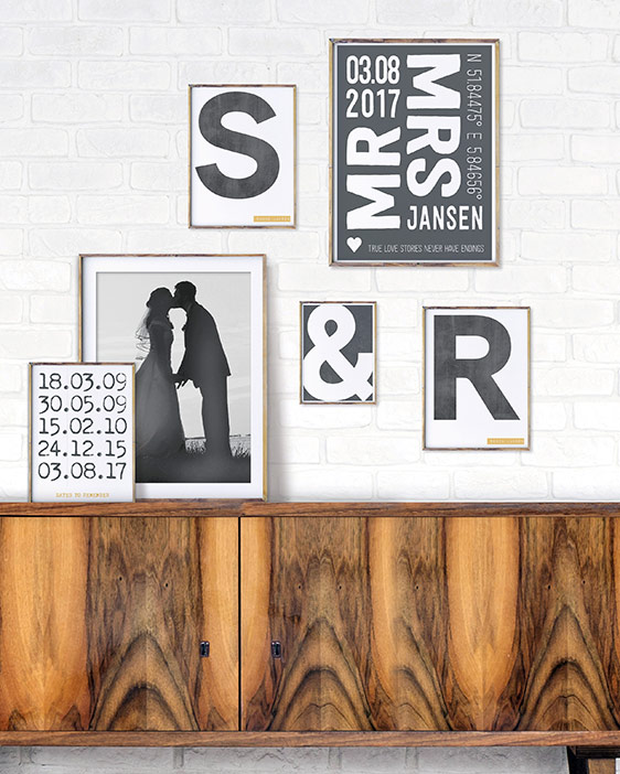 Mr and Mrs Poster | Foto Wandcollage | Personalisiert | Schwarz Weiss | Printcandy