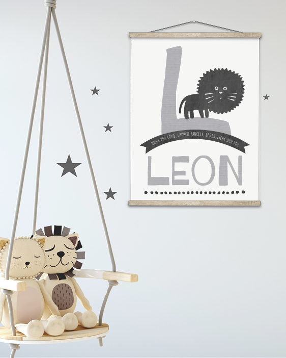 Wanddeko für das Kinderzimmer. Personalisiere dein Namen Poster online selbst bei Printcandy