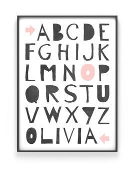 ABC Poster | Personalisiert | Schwarz Weiss mit Rosa