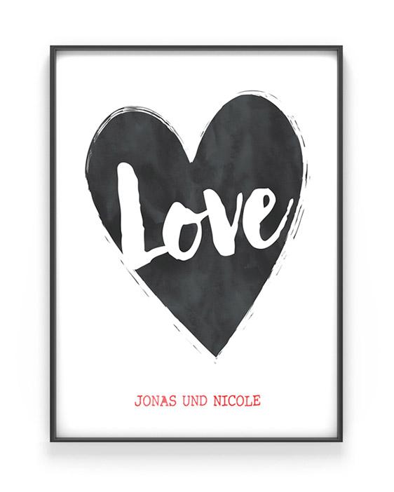 Art Print Herz mit eigenem Text | Personalisiert | Liebe