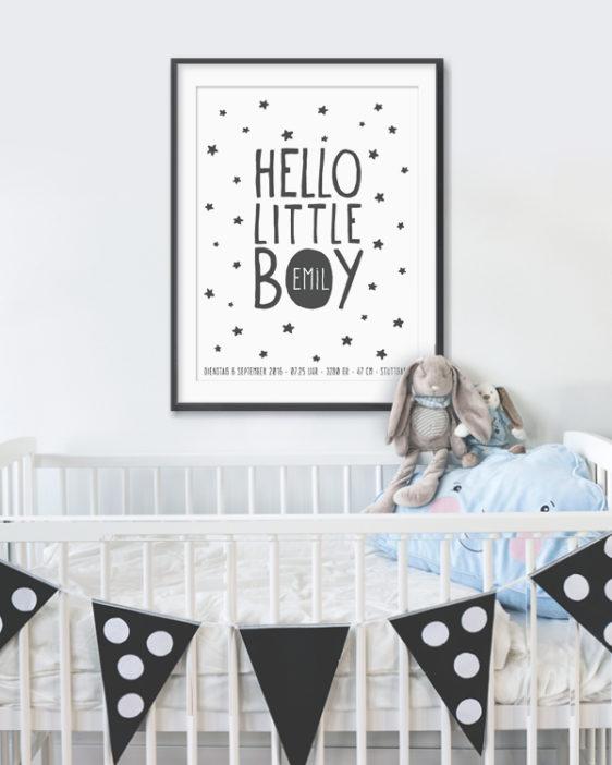 Babyposter Hello Little One - Baby Geburtsposter - Poster online selber gestalten bei Printcandy