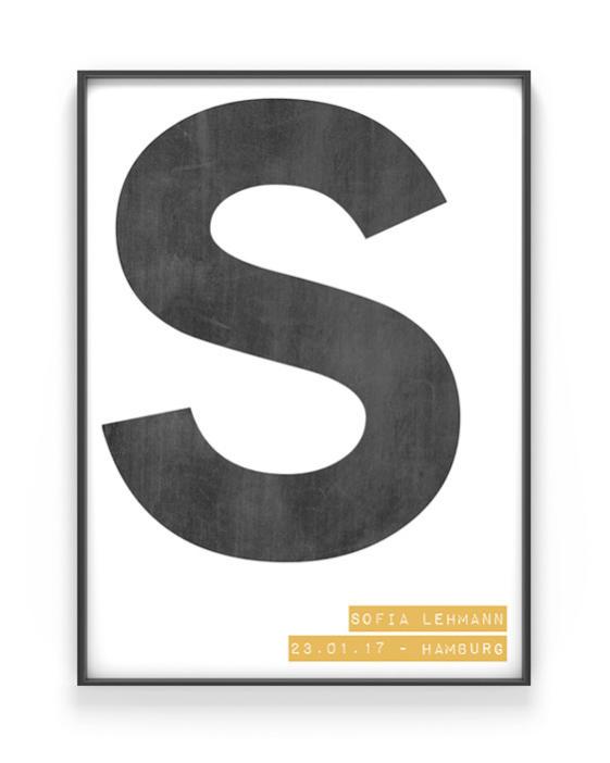 Buchstaben Print | Personalisiert | Schwarz Weiss mit Gelb | Printcandy
