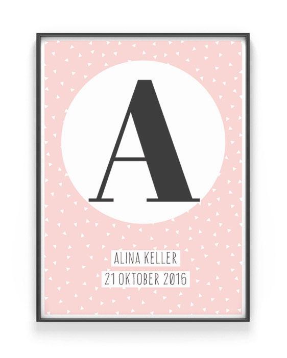 Personalisiertes Buchstaben Poster - Rosa