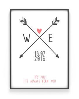 Personalisiertes Poster Love Initials - Rosa