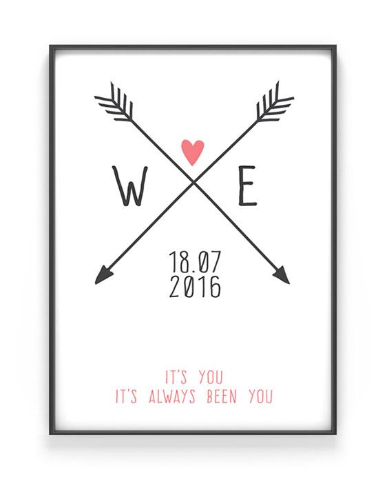 Personalisiertes Poster Love Initials | Schwarz Weiss mit Rosa | Printcandy