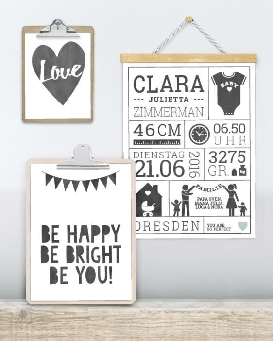Poster Wimpelkette mit eigenem Text - Wandcollage - Personalisiertes Schwarz Weiß Kinderzimmer Poster online selbst gestalten bei Printcandy
