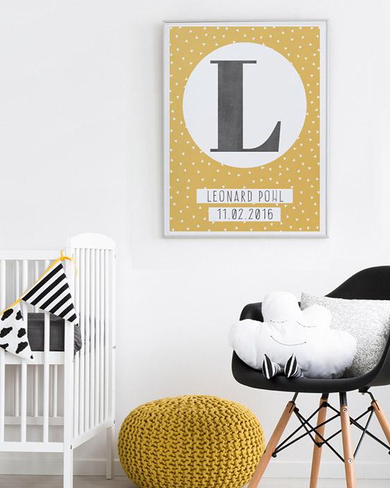 Kaufe hier das Buchstaben Poster- Printcandy Kinderzimmer-Deko-Inspiration-Trendfarbe gelb