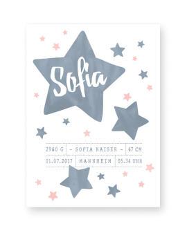Sternenhimmel Poster zur Geburt fur das Kinderzimmer- Personalisierter Poster online selber gestalten bei Printcandy