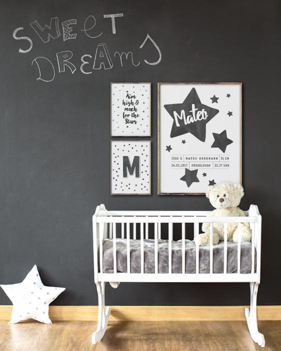 Schwarz- weiss Geburt Poster Sternenhimmel - Kinderzimmer Dekoration- Printcandy