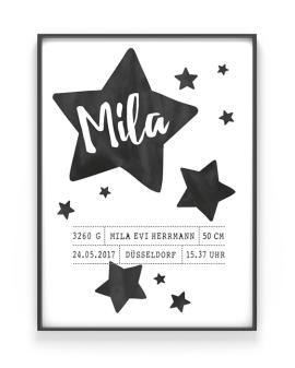 Schwarz Weiß Sternenhimmel Poster zur Geburt fur das Kinderzimmer- Personalisierter Poster online selber gestalten bei Printcandy