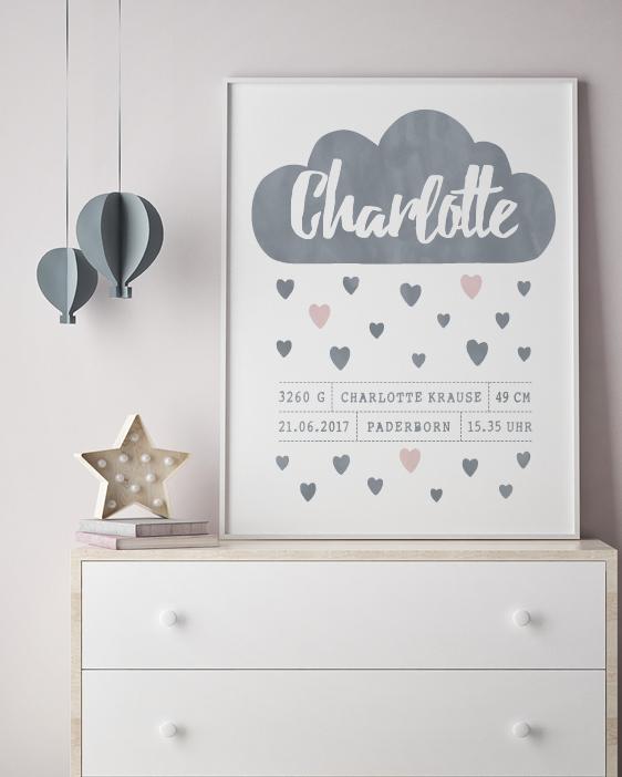 Poster zur Geburt Wolke mit Herzen und den Geburtsdaten - Poster für Kinderzimmer - Printcandy
