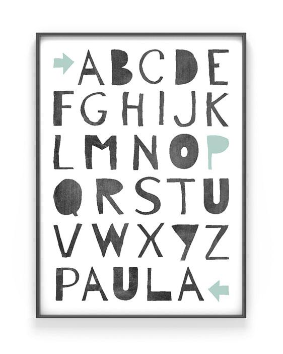 ABC Poster Kinderzimmer | Personalisiert | Schwarz Weiss mit Minz | Printcandy