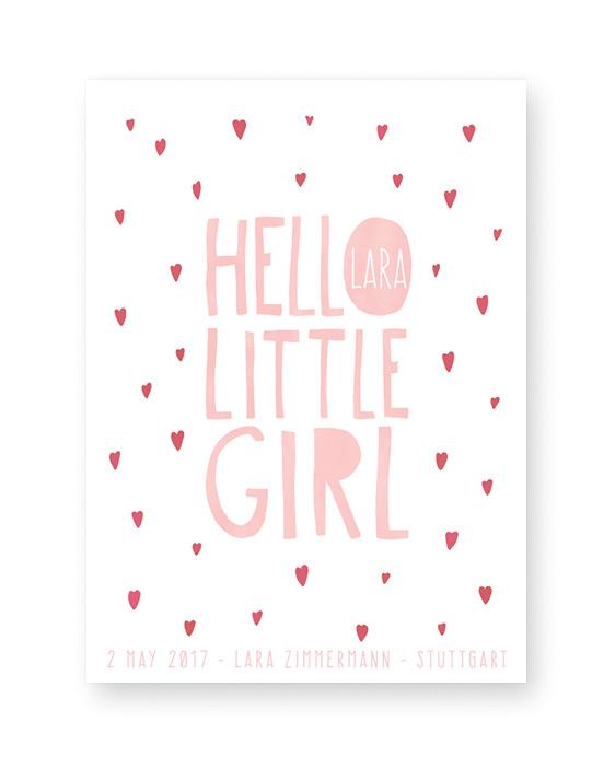 Babyposter Hello Little Girl - Baby Wilkommenposter - Personalisierter Geburtsposter online selber gestalten bei Printcandy