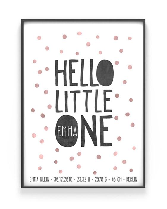 Babyposter Hello - Rosa - Personalisiere Dein Babyposter hier online bei Printcandy