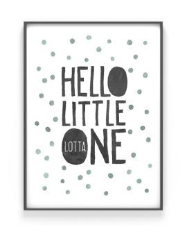 Personalisierter Babyposter Hello | Schwarz Weiss mit Minz | Printcandy