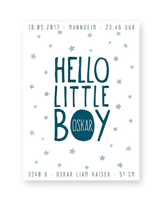 Babyposter Hello Little Boy - Schwarz Weiß Baby Wilkommenposter - Personalisierter Geburtsposter online selber gestalten bei Printcandy