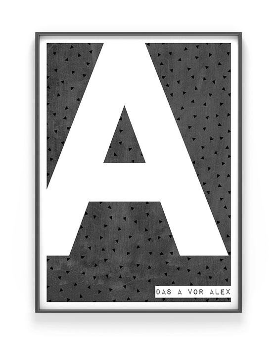 Buchstaben Print | Personalisierter Text-Poster | Schwarz Weiss | Printcandy