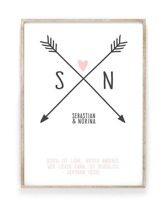 Poster Love Initials   Personalisierte Hochzeitsposter   Printcandy