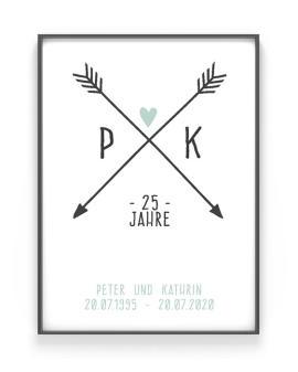 Personalisiertes Poster Love Initials | Schwarz Weiss mit Minz | Printcandy