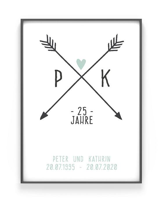 Personalisiertes Poster Love Initials   Schwarz Weiss mit Minz   Printcandy