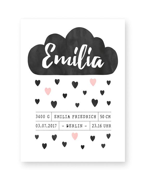 Schwarz- weiss Geburt Poster Wolke mit personalisierten Geburtsdaten zum selber gestalten. Birthposter-Poster zur Geburt