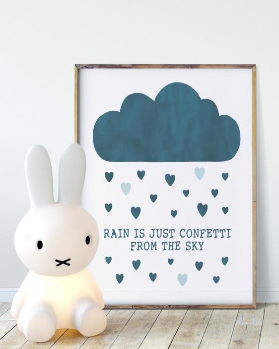 Baby Poster mit Wolke für das hippe Kinderzimmer mit eigenen Texten und Farben Deiner Wahl