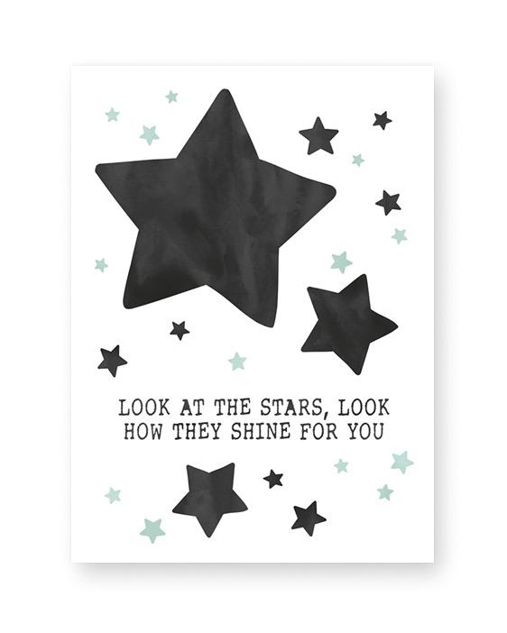 Baby Poster mit Sternen und eigenem Text - monochrom