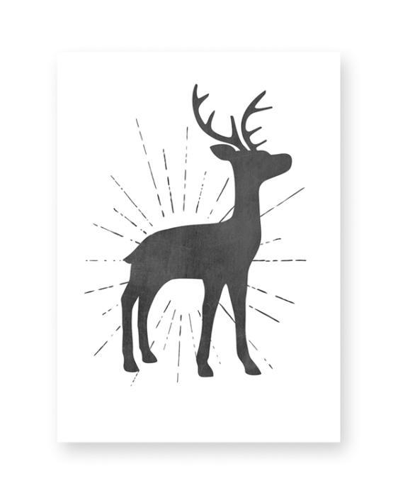 Schwarz Weiß Poster mit Hirsch Silhouette hier bestellen