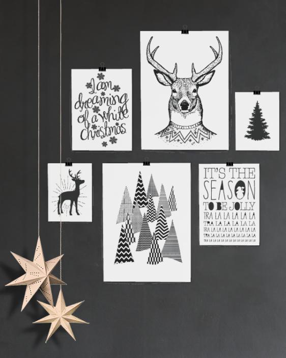 Poster zu Weihnachten Print Schwarz Weiß Druck Bild Christmas Art-Prints