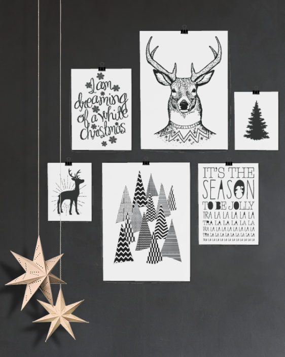 Schwarz Weiße Weihnachtsdeko.Poster Set Weihnachten