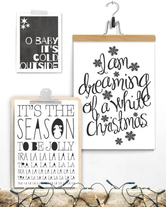 Posterset zur Dekoration zu Weihnachten - Schwarz Weiß Drucke