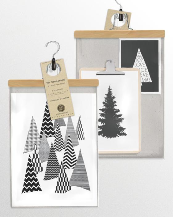 Poster Weihnachtsbaum - Poster zu Weihnachten Print Schwarz Weiß Kunstdruck Bild Weihnachtsbaum