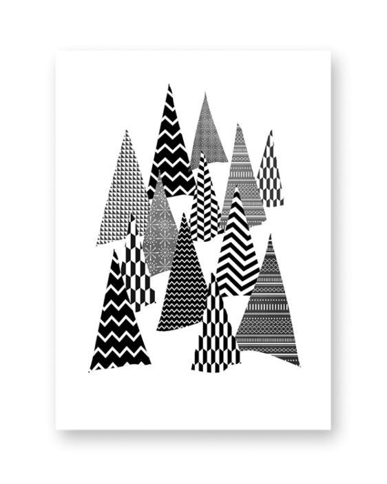 Schwarz Weiß Druck Poster Kunstdruck Weihnachten Bild Print Christmas Weihnachtsbaum