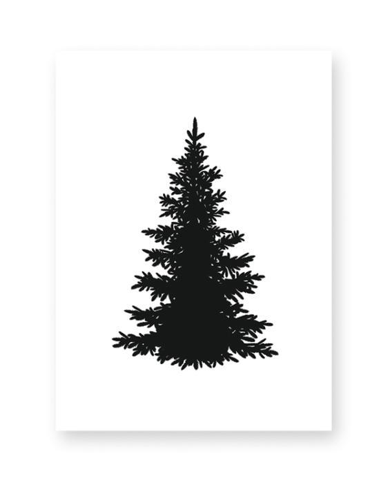 Poster zu Weihnachten Print Schwarz Weiß Kunstdruck Bild Weihnachtsbaum Silhouette