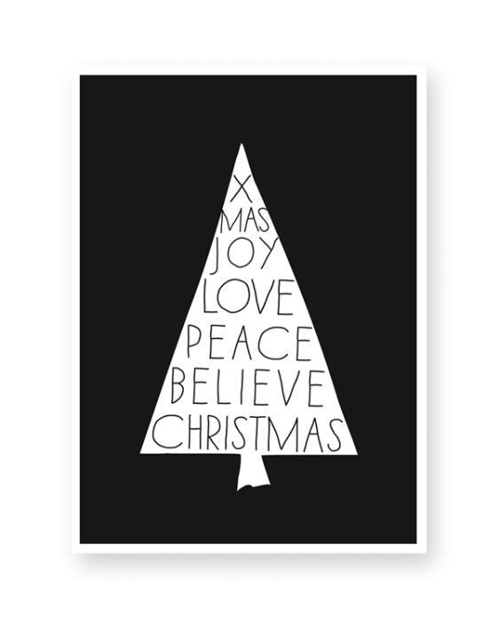 Poster zu Weihnachten Print Schwarz Weiß Kunstdruck Bild Weihnachtsbaum Spruche